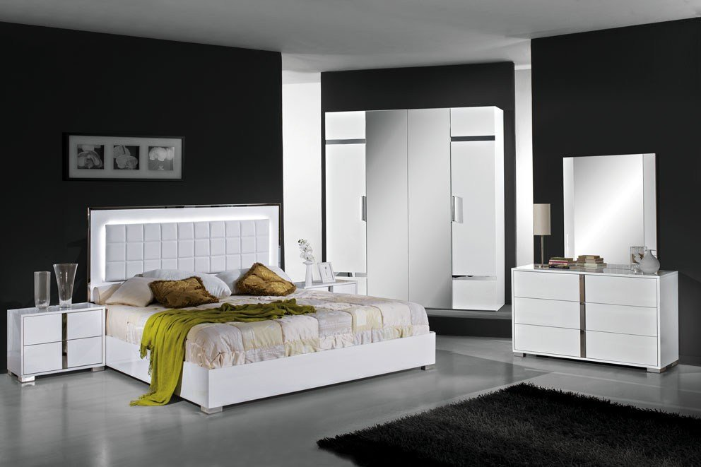 Best San Marino White High Gloss Bedroom Set Modish Furnishing With Pictures
