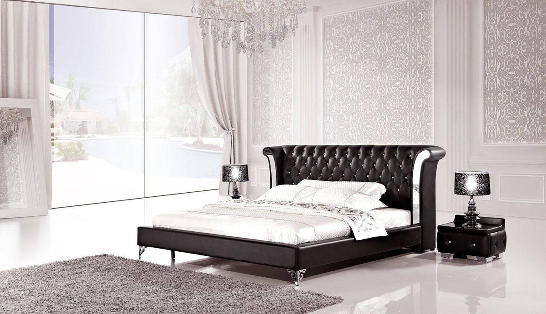 Best 3 Piece Modern Wing Genuine Black Leather Bedroom Set With Pictures
