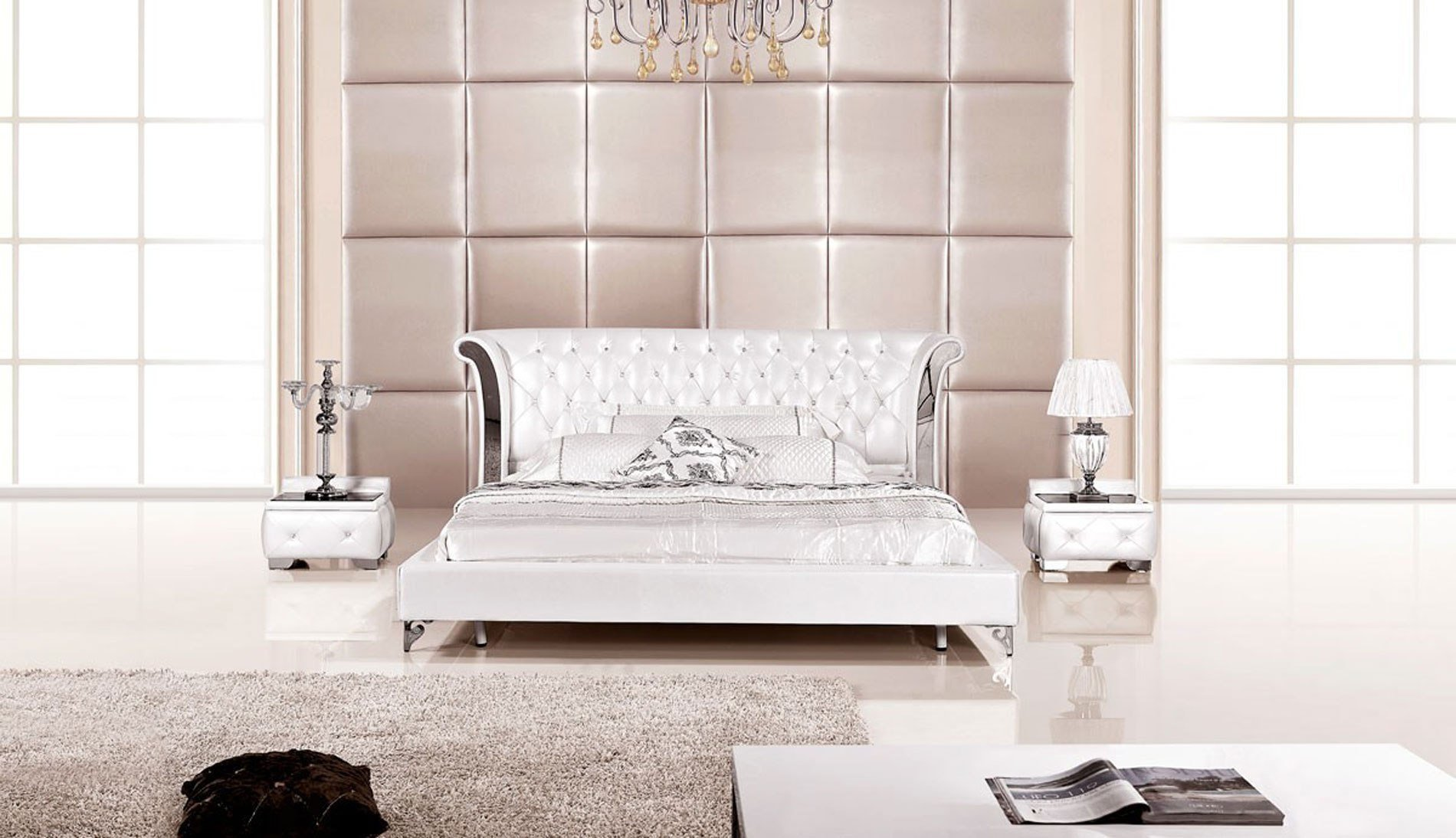 Best 3 Piece Modern Wing Genuine White Leather Bedroom Set With Pictures