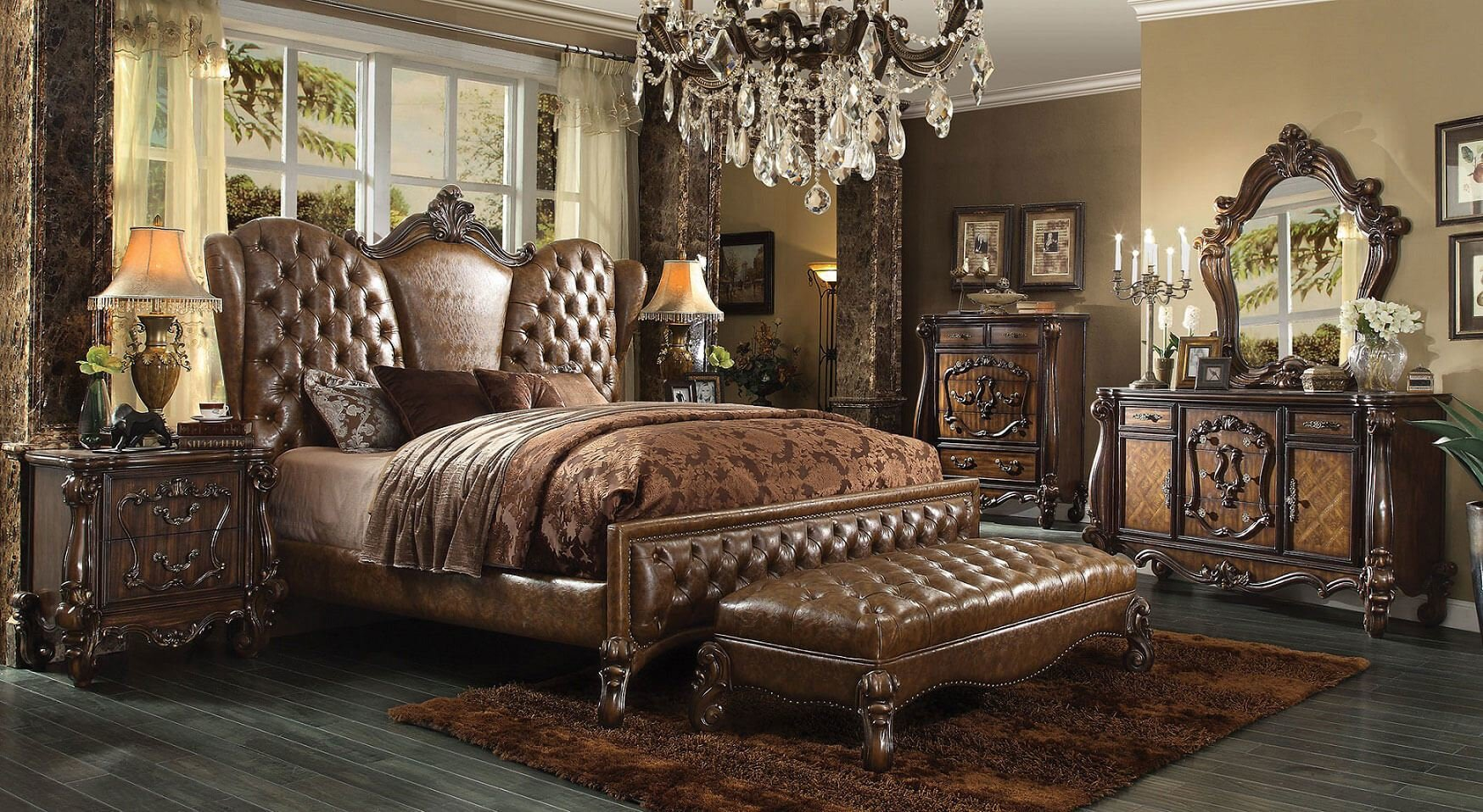Best 4 Piece Versailles Upholstered Bedroom Set In Cherry Oak With Pictures