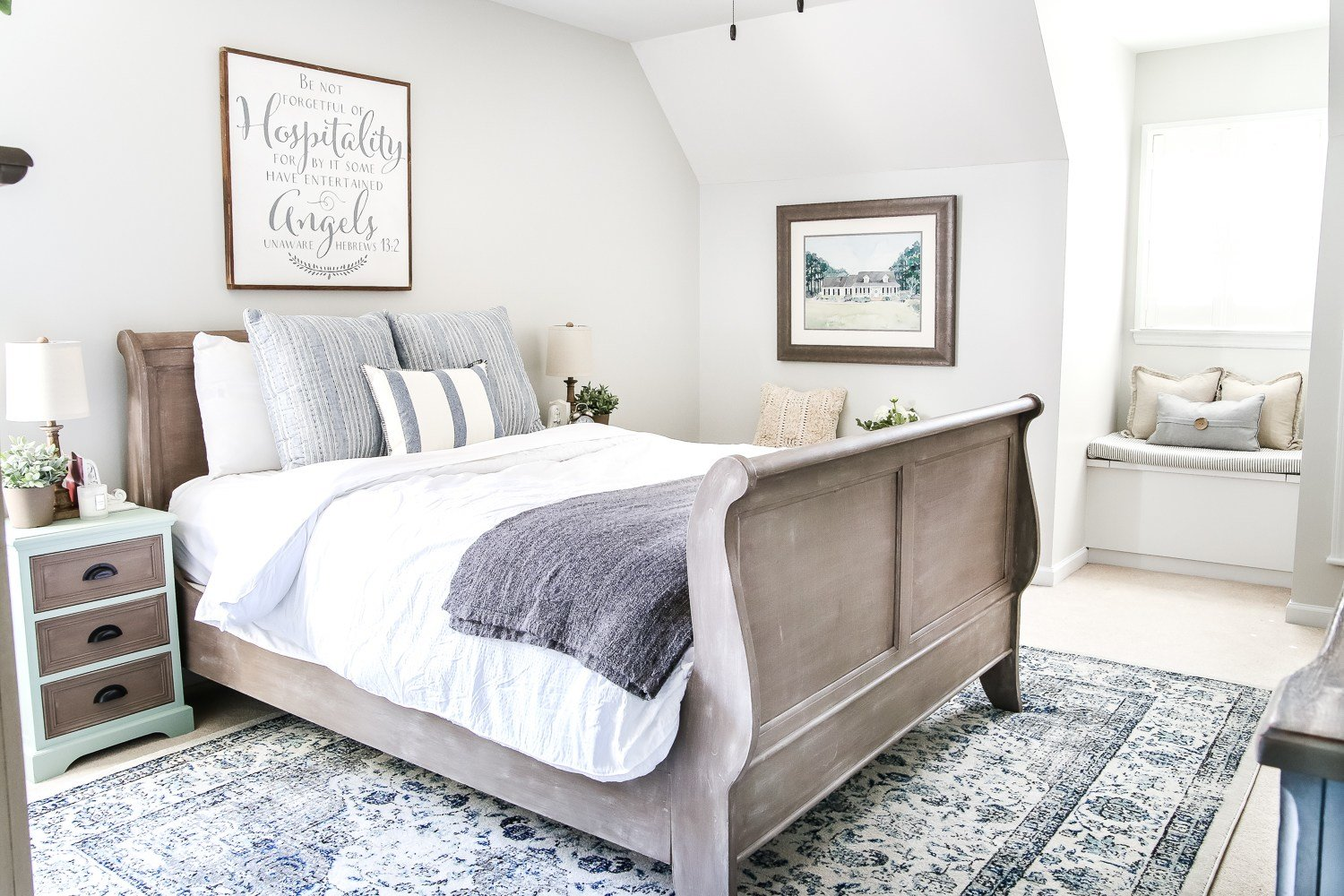 Best Blue Cottage Style Guest Bedroom Makeover Reveal Bless With Pictures