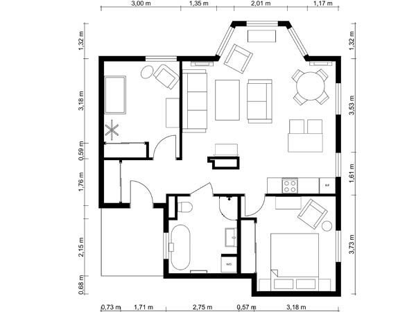 Best 1 Bedroom Apartment Floor Plan Roomsketcher With Pictures