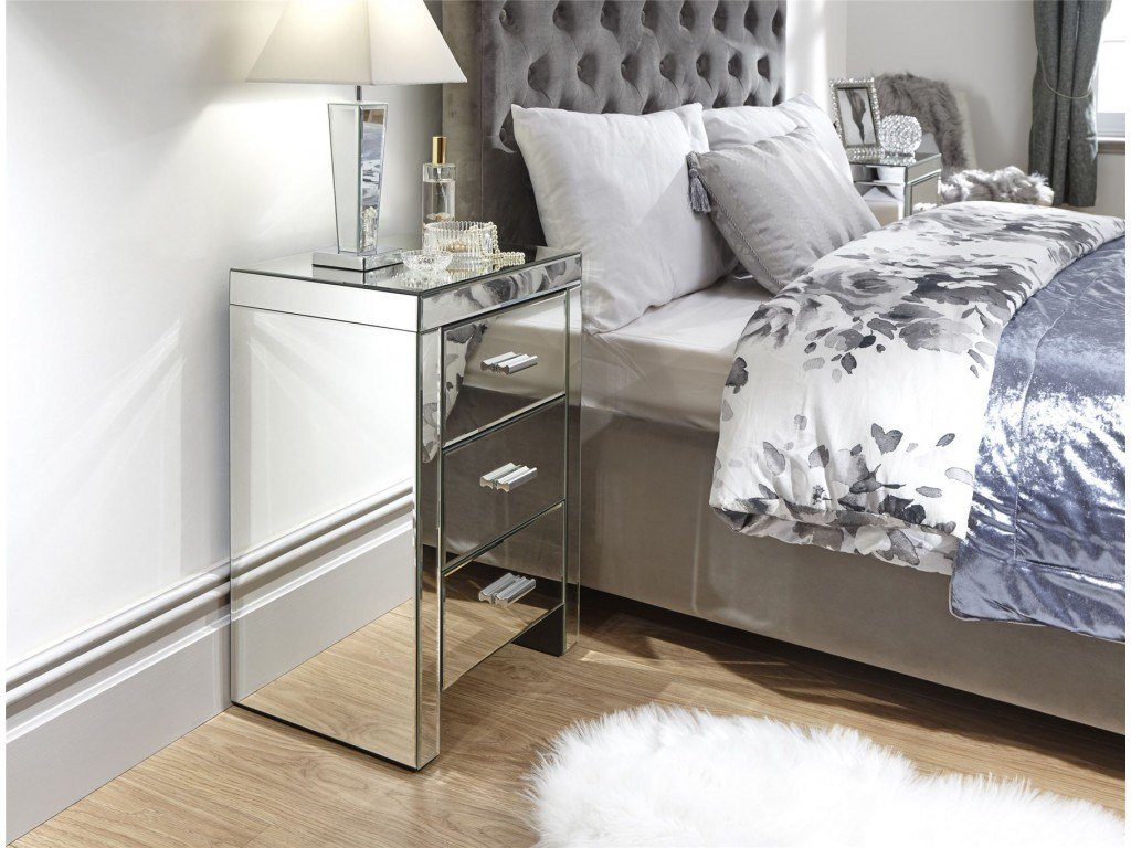 Best Modern Clear Mirror Venetian 3 Drawer Bedside Table Cabinet With Pictures