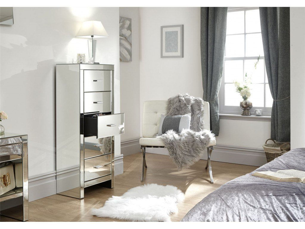 Best Venetian 5 Drawer Tallboy Clear Mirror Finish Bedroom With Pictures