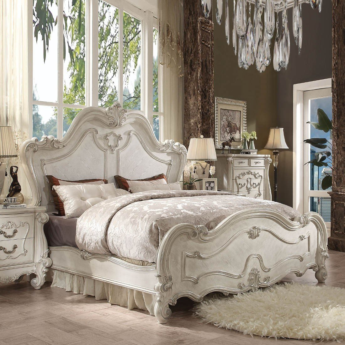 Best Acme Versailles 4Pc Eastern King Bedroom Set In Bone White With Pictures