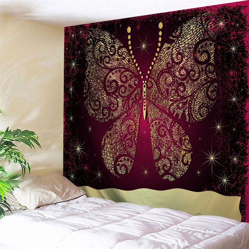 Best 2018 Wall Decor Butterfly Printed Bedroom Tapestry Colormix W Inch L Inch In Wall Tapestries With Pictures