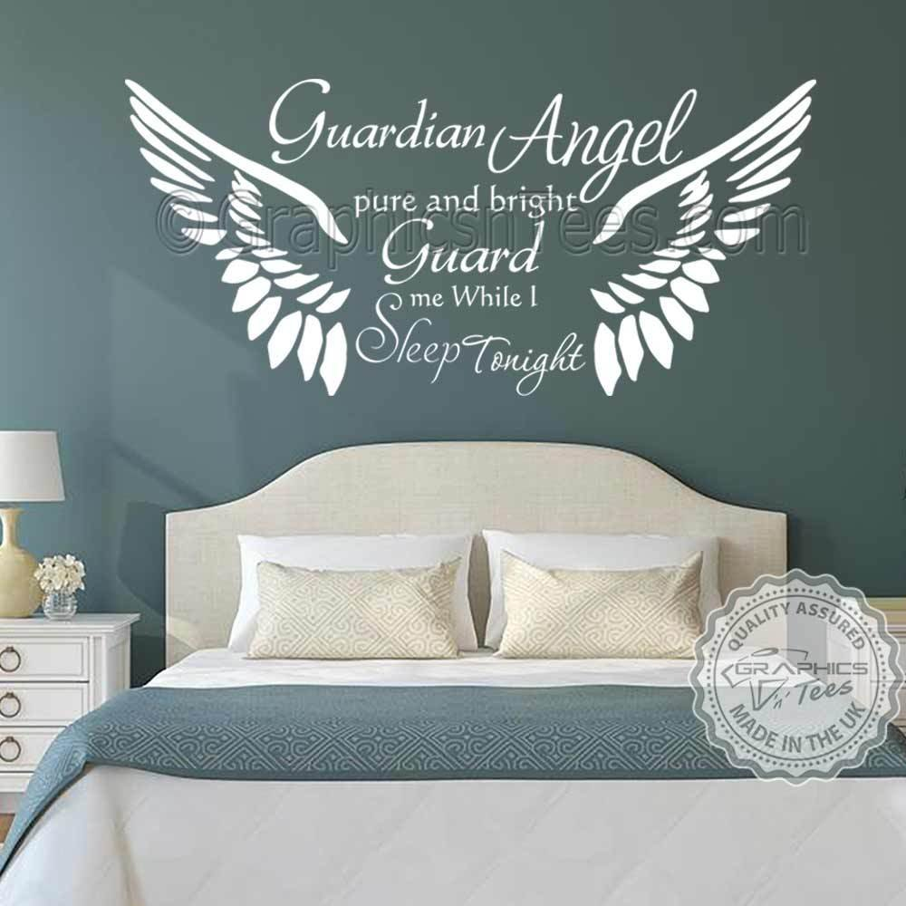 Best Guardian Angel Bedroom Wall Sticker Quote With Angel Wings With Pictures