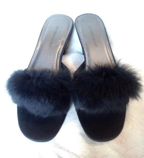 Best Victoria S Secret Black Angora Fur Satin Slippers Mules With Pictures
