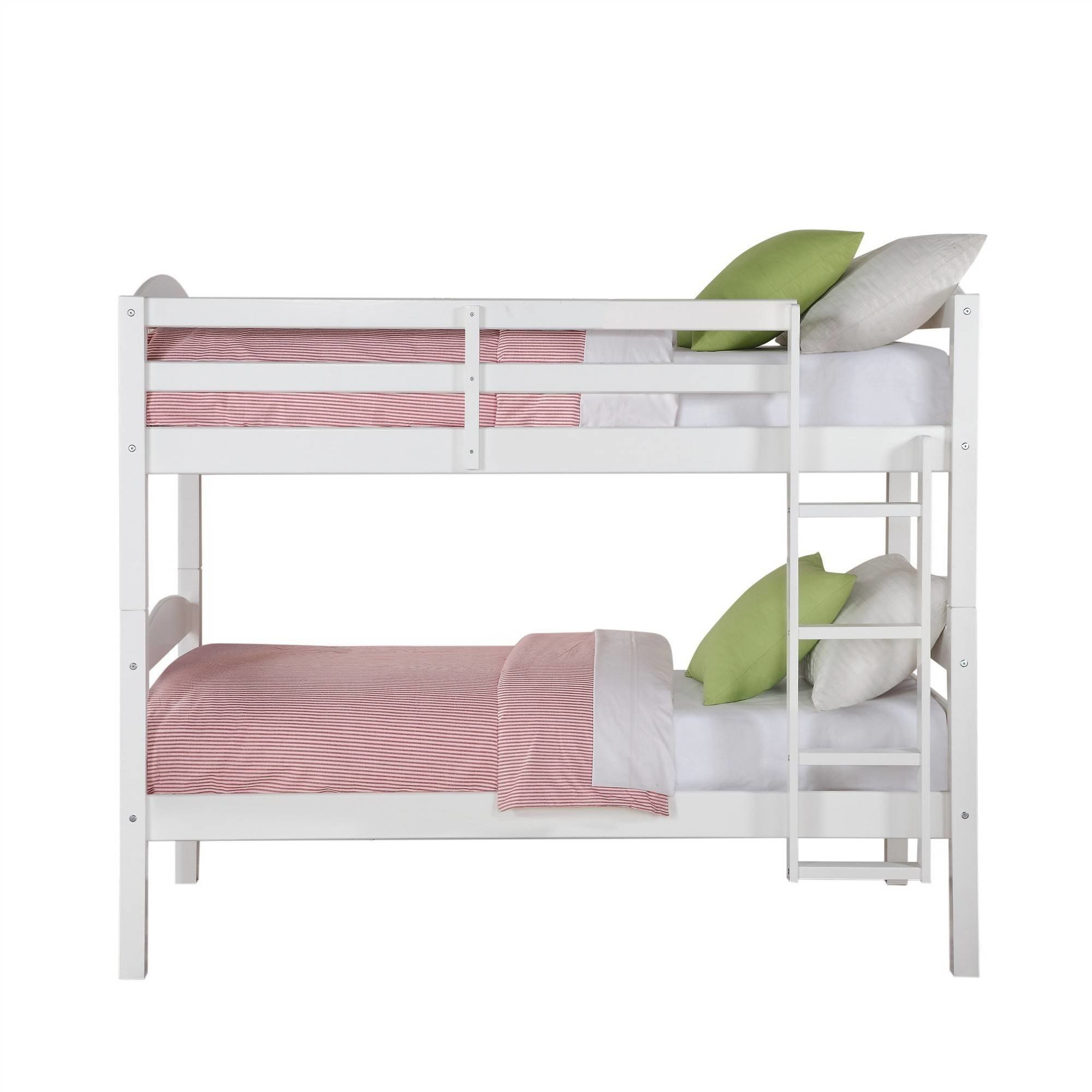 Best Twin Size Bunk Bed Convertible Wood Ladder White Finish With Pictures