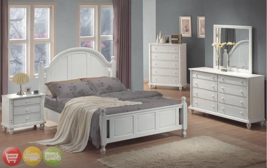 Best Full Bed White Wood 4 Piece Bedroom Furniture Set New With Pictures