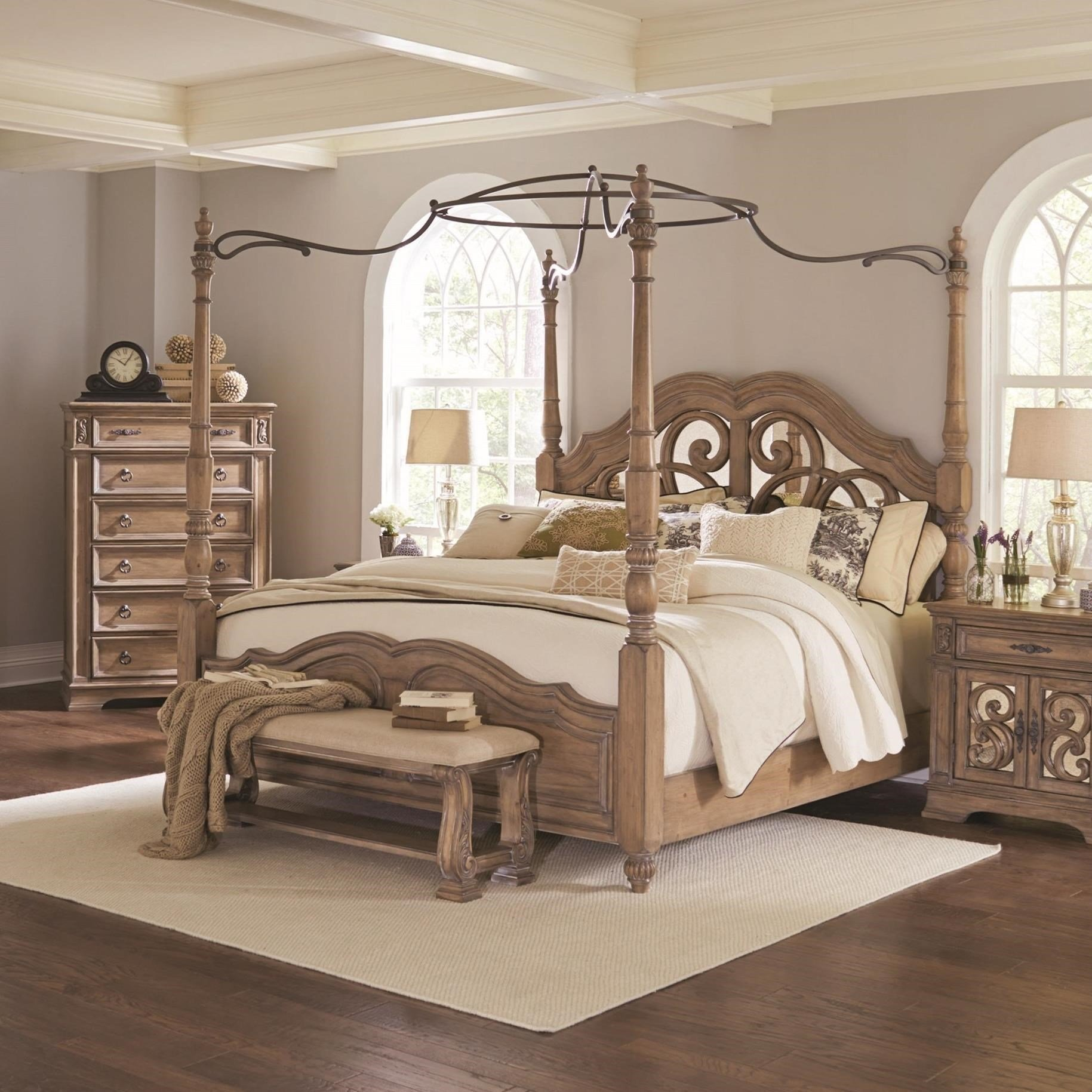 Best Coaster Ilana Queen Canopy Bed With Mirror Back Headboard Value City Furniture Canopy Beds With Pictures