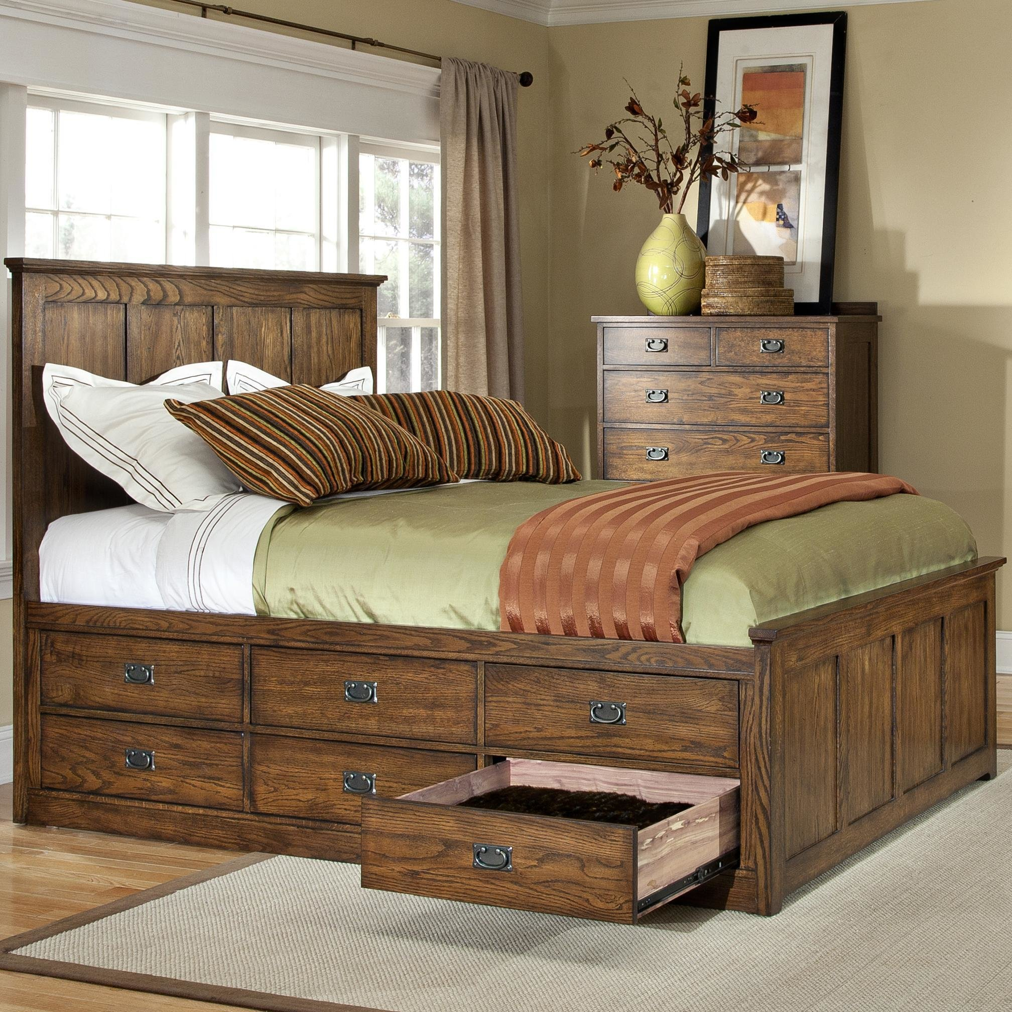 Best Intercon Oak Park Mission Queen Bed With Twelve Underbed Storage Drawers Wayside Furniture With Pictures