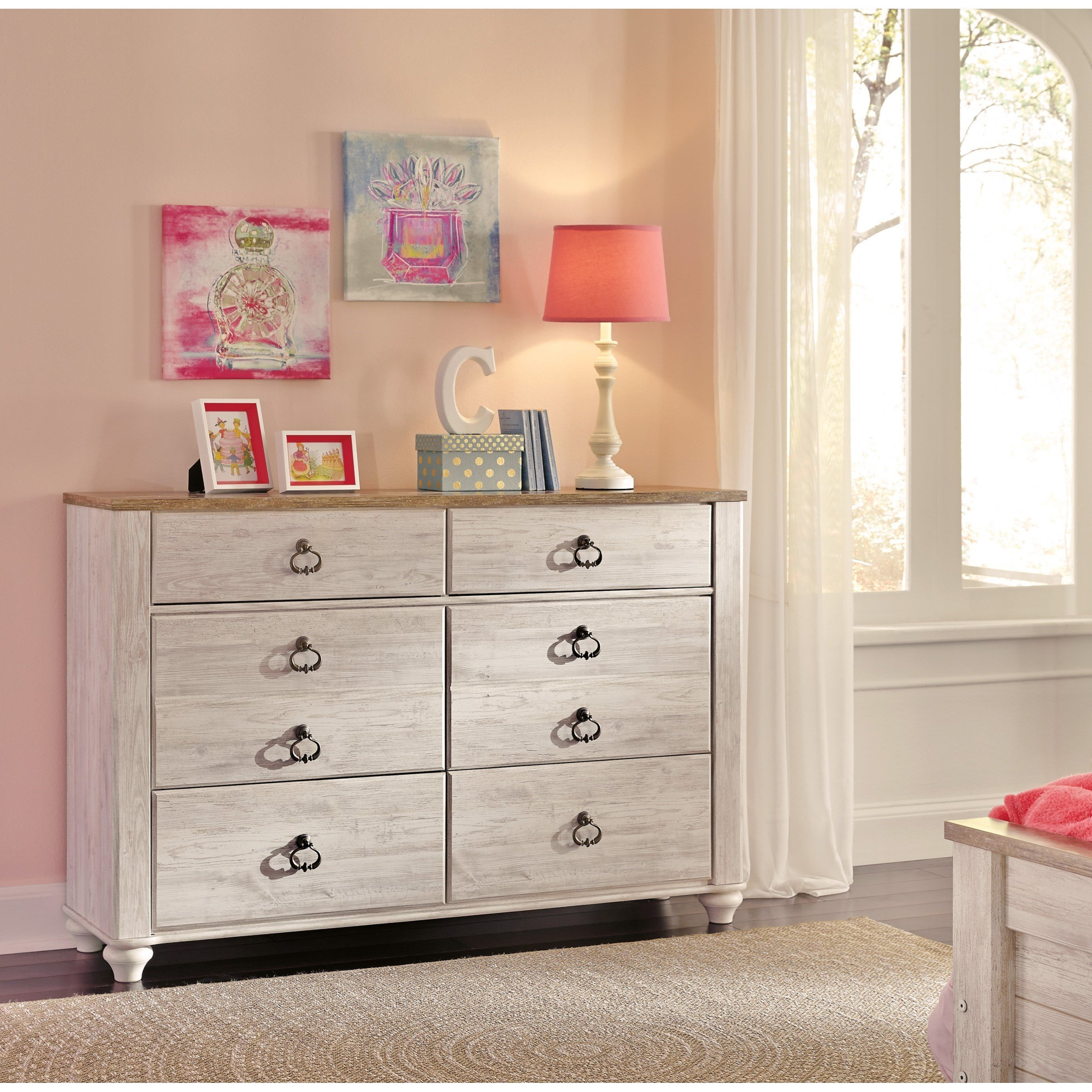 Best Signature Design By Ashley Willowton B267 21 Small Scale 6 Drawer Dresser With Rustic Look Top With Pictures