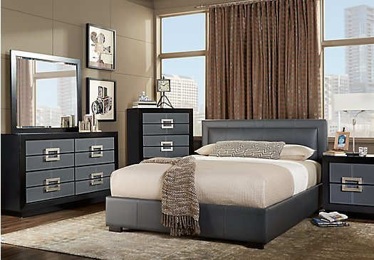 Best City View Gray 7 Pc King Upholstered Bedroom Platform With Pictures