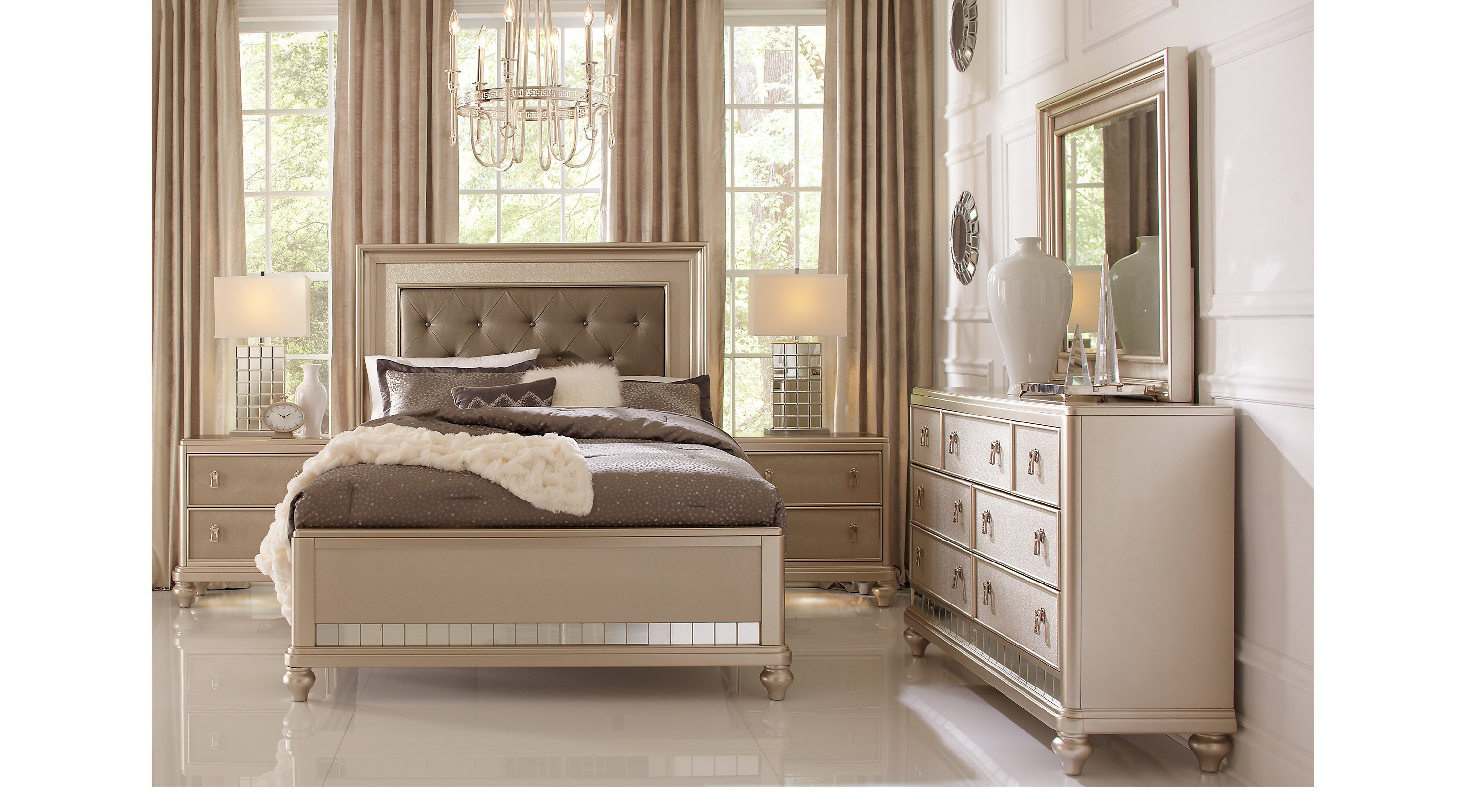 Best Paris Champagne 7 Pc King Bedroom Panel Contemporary With Pictures