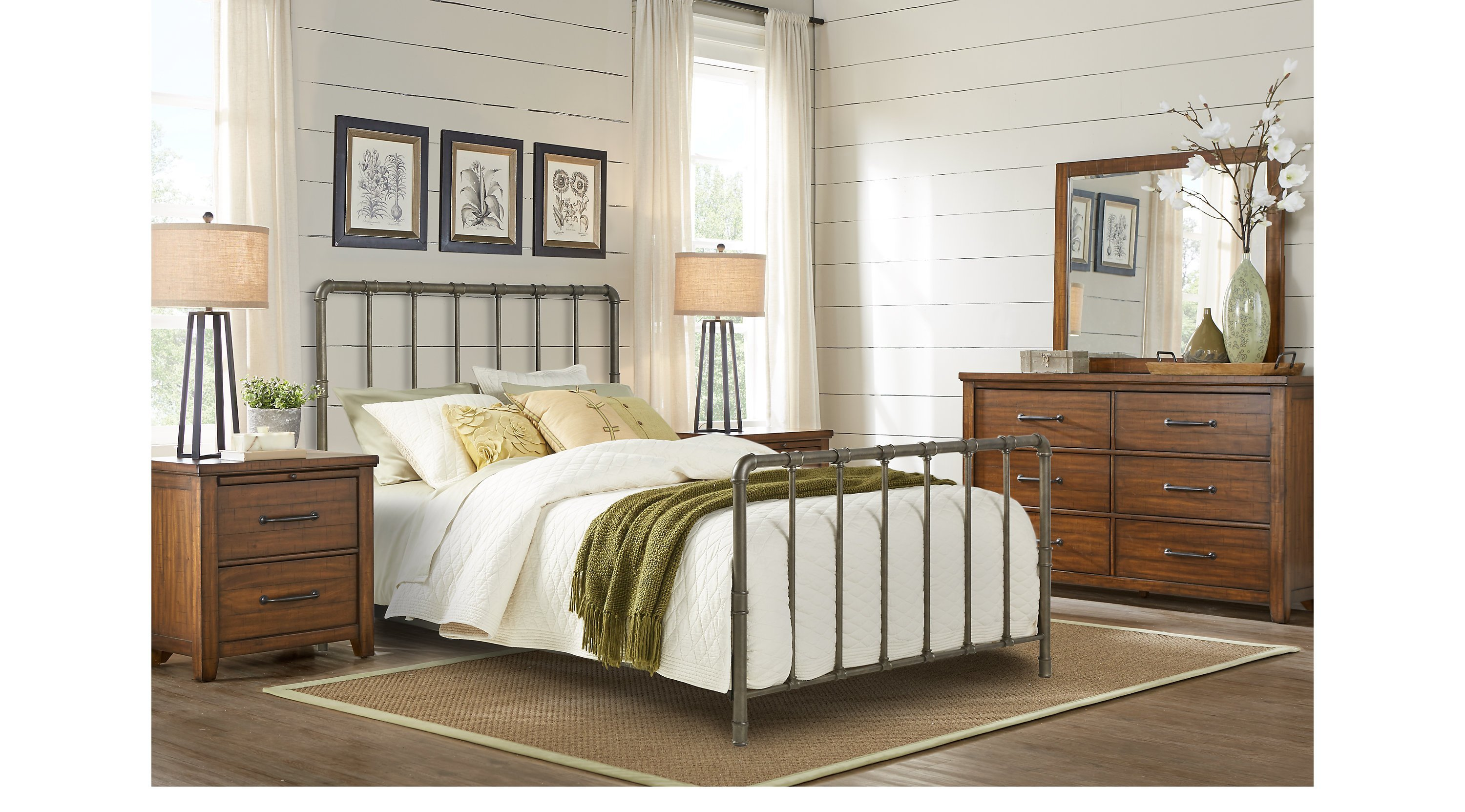 Best Urban Plains Brown 5 Pc Queen Metal Bedroom Slat With Pictures