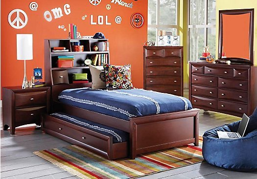 Best Ivy League Cherry 5 Pc Full Bookcase Bedroom With Pictures