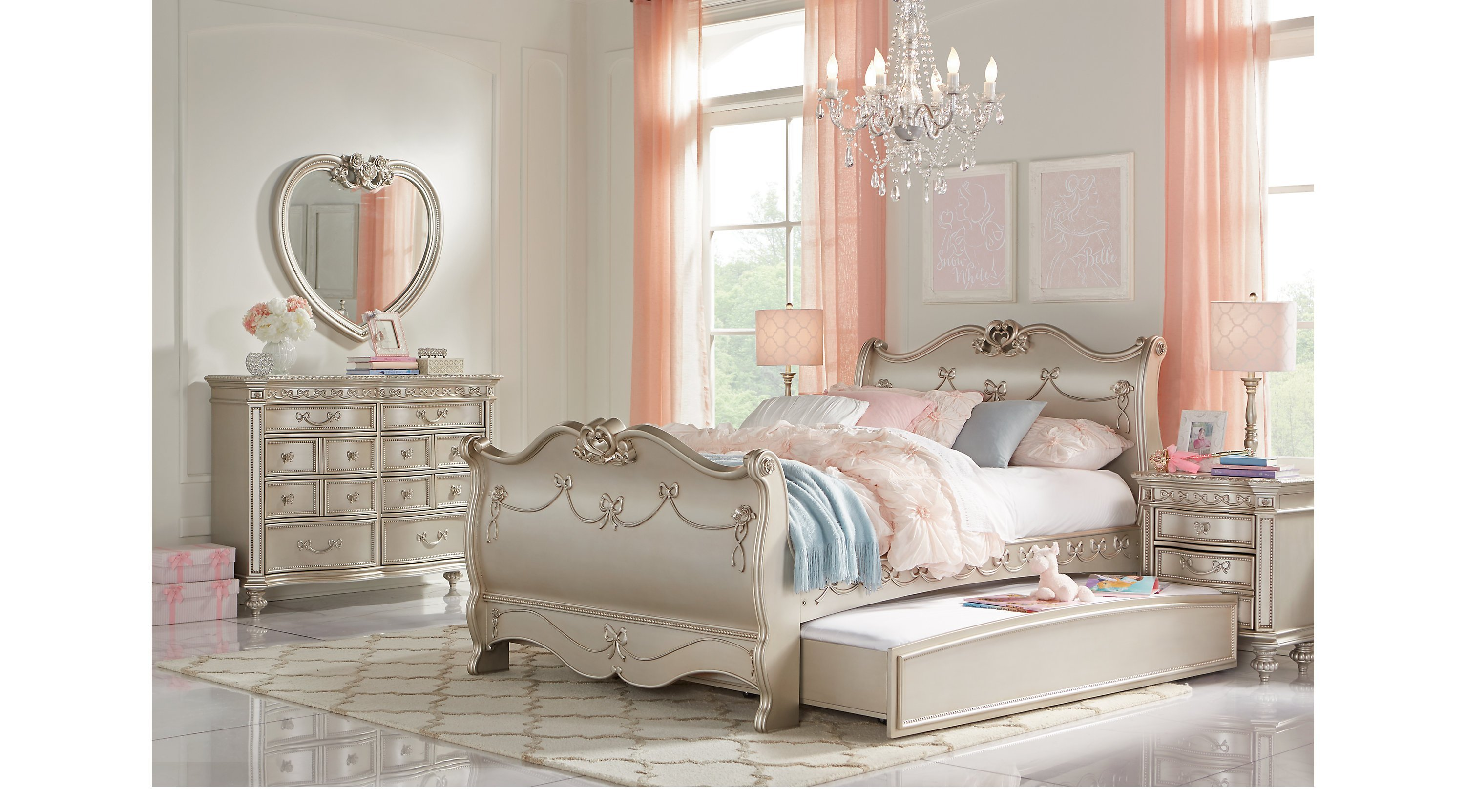 Best Disney Princess Silver 5 Pc Full Sleigh Bedroom With Pictures