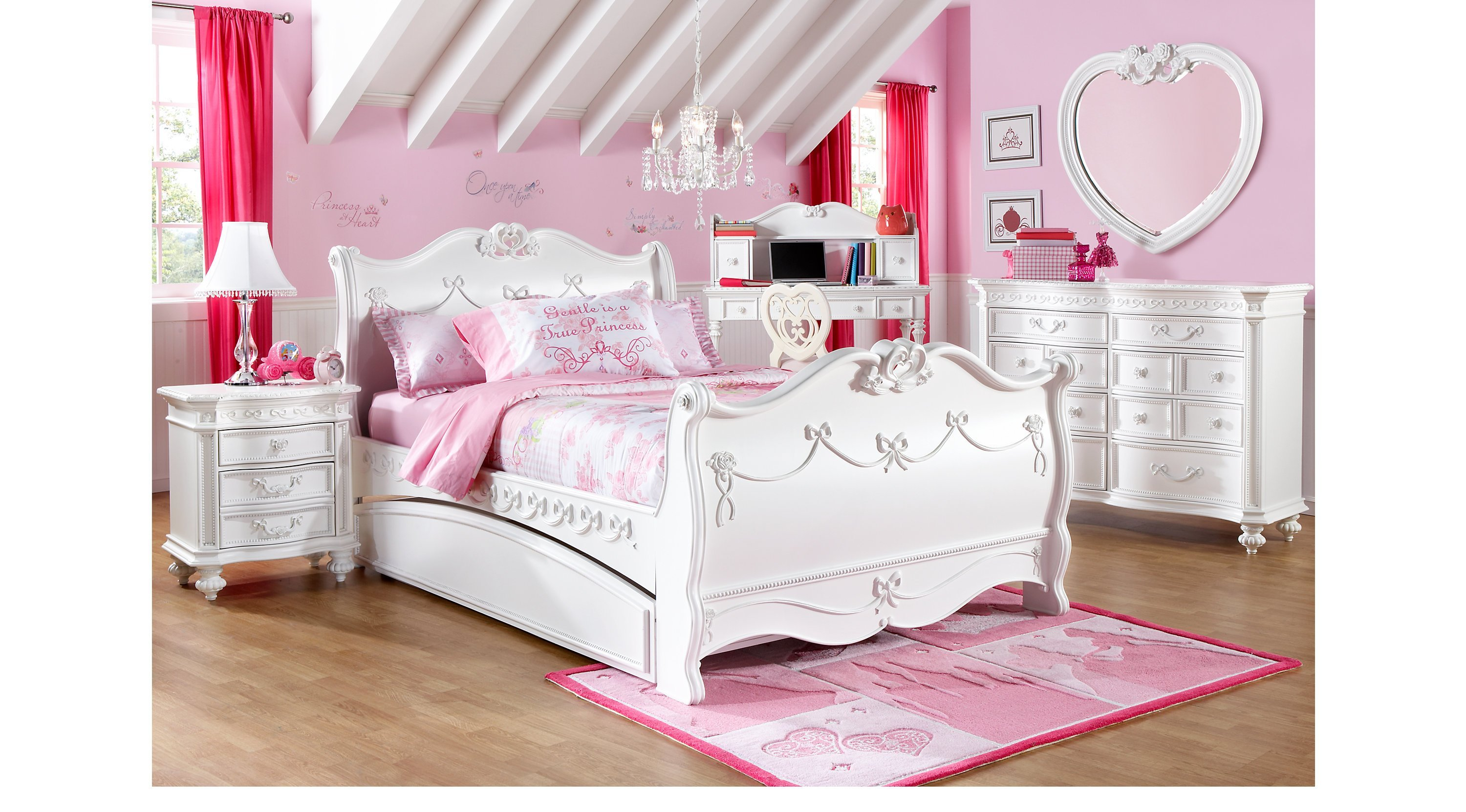 Best Disney Princess White 5 Pc Full Sleigh Bedroom With Pictures