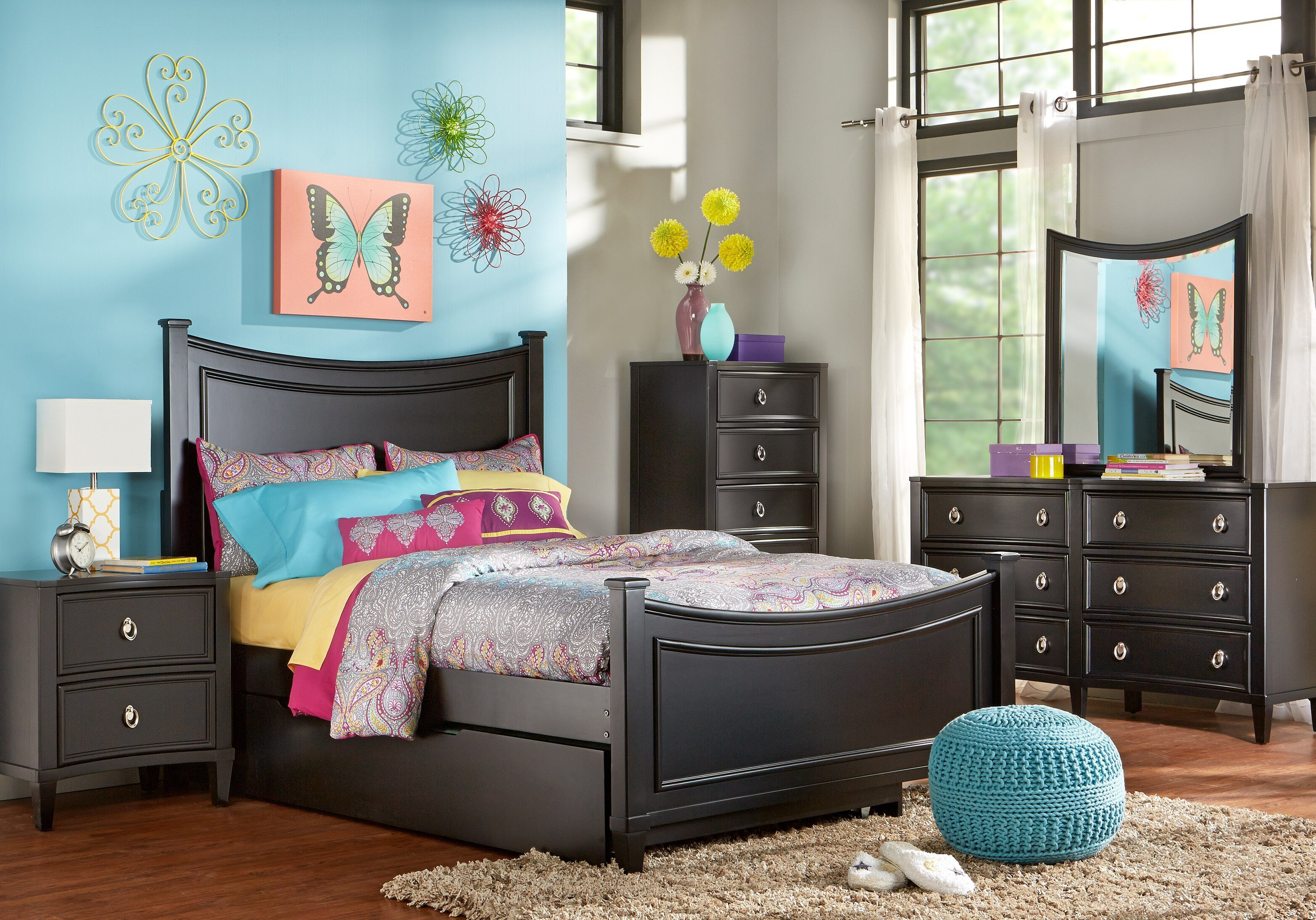 Best Jaclyn Place Black 5 Pc Full Bedroom Bedroom Sets Black With Pictures