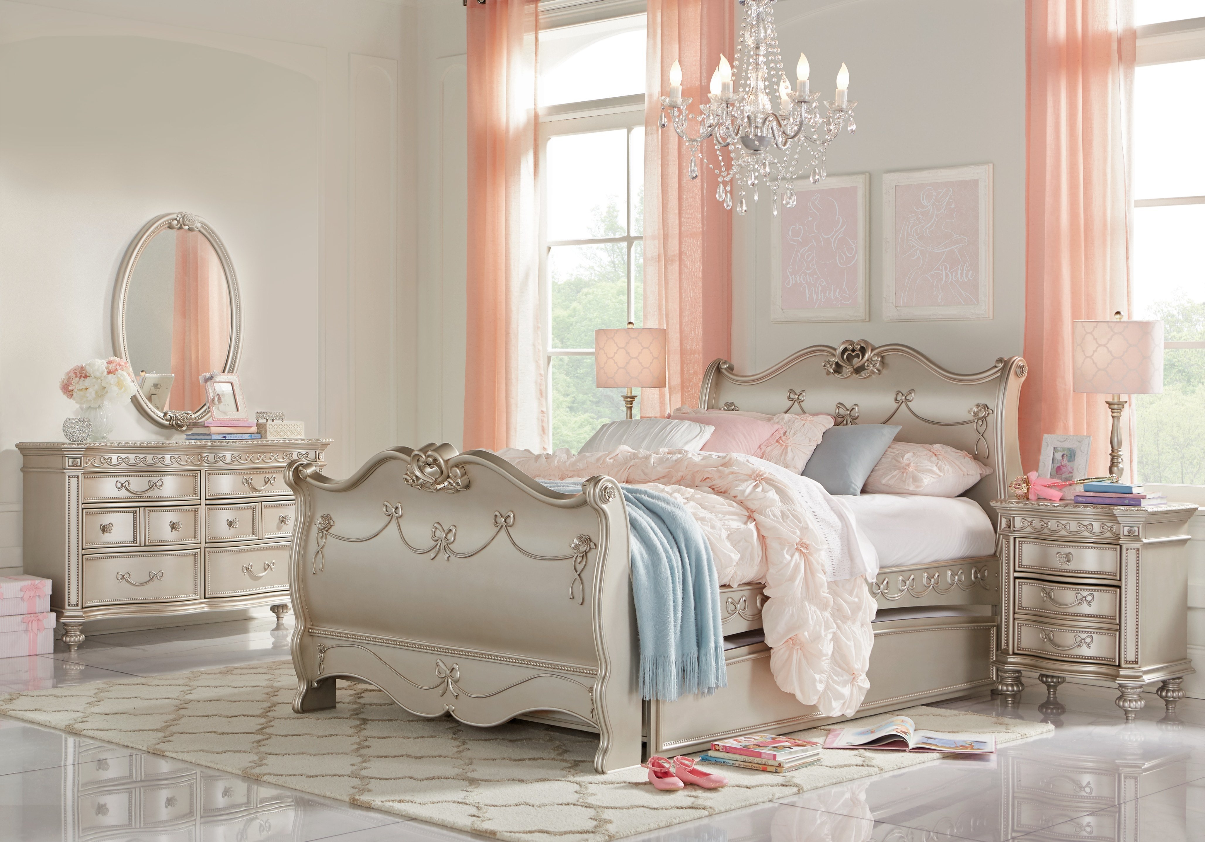 Best Disney Princess Silver 5 Pc Full Sleigh Bedroom Girls Bedroom Sets Colors With Pictures