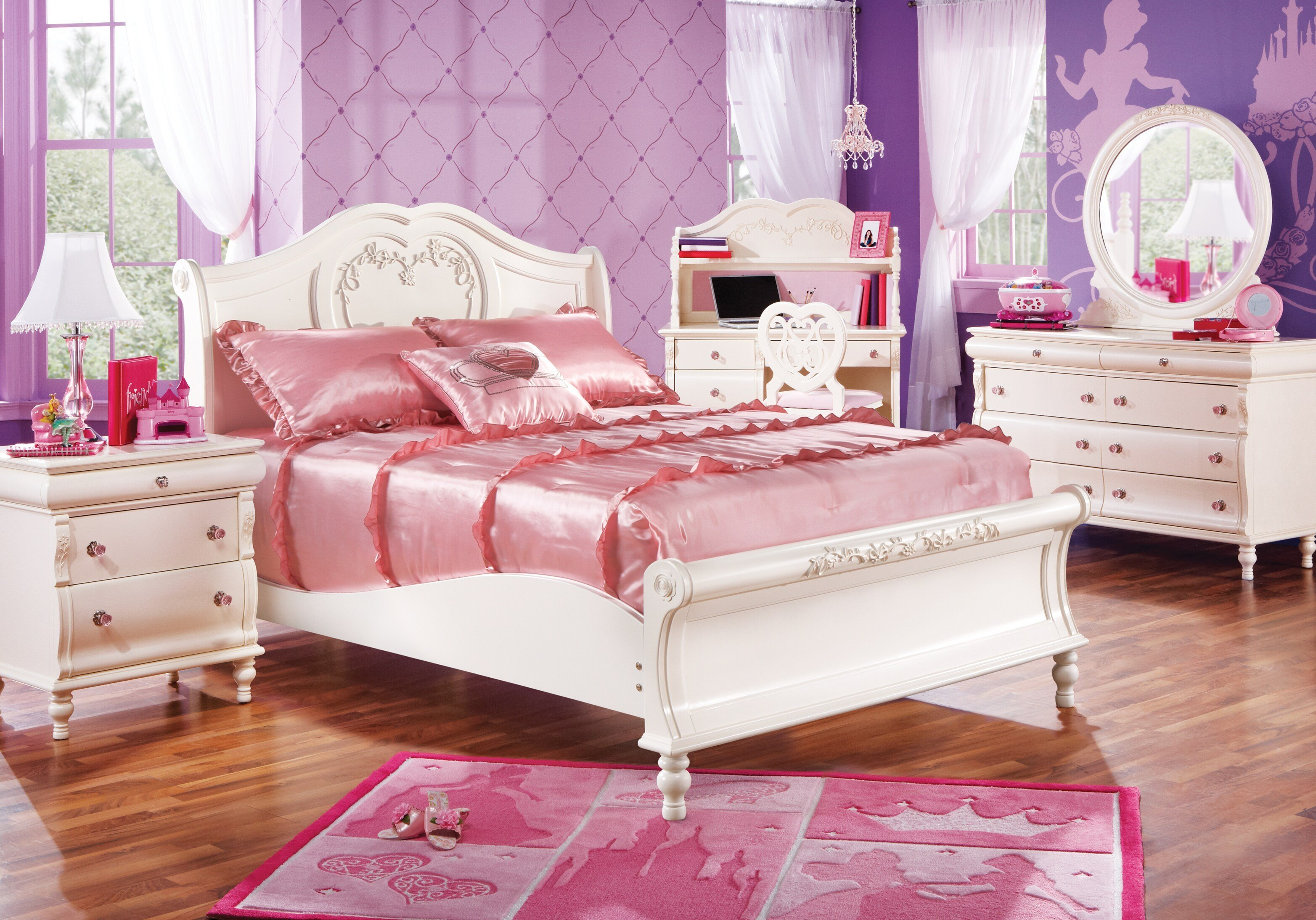 Best Disney Princess Twin Pearl 5Pc Sleigh Bedroom Disney With Pictures