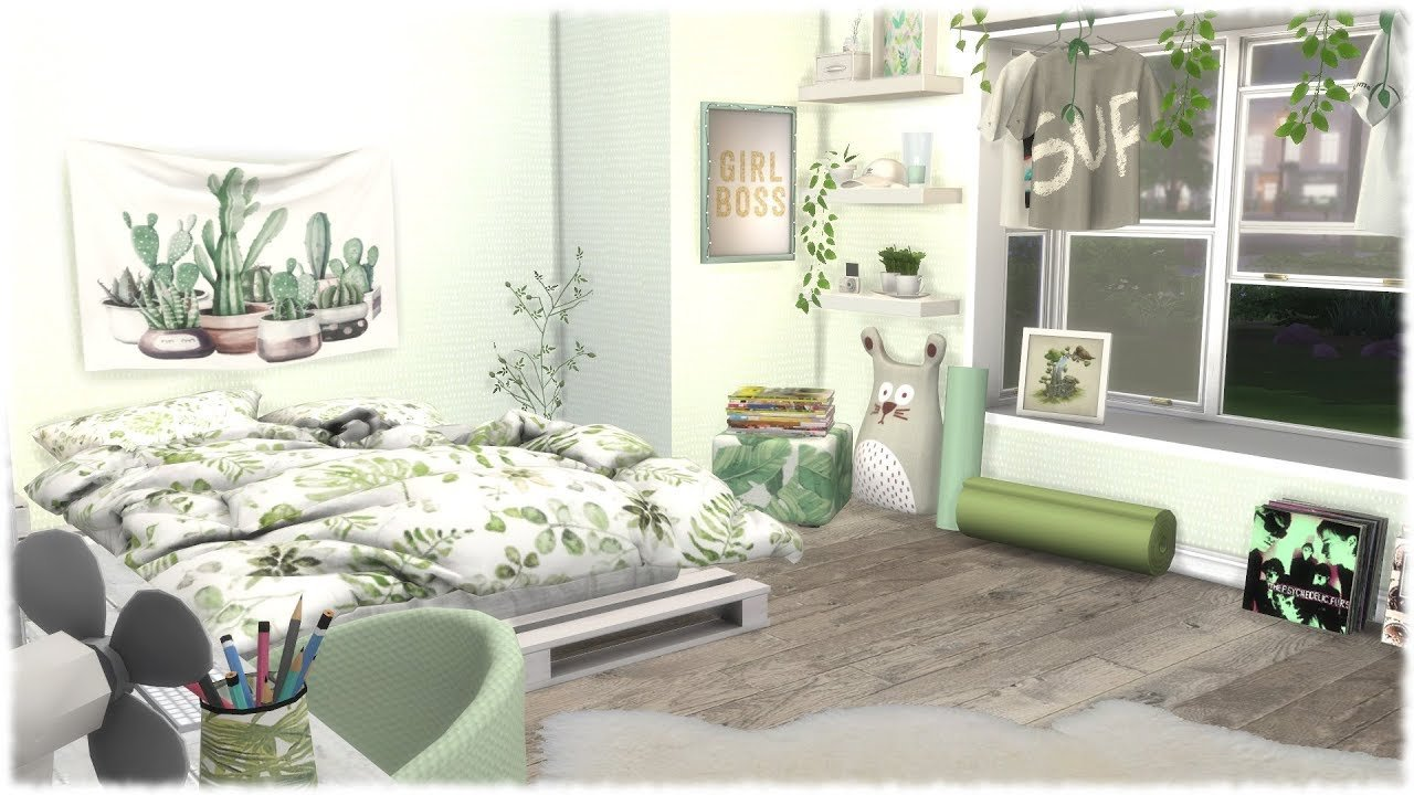 Best The Sims 4 Speed Build Green Themed Bedroom Cc Links With Pictures