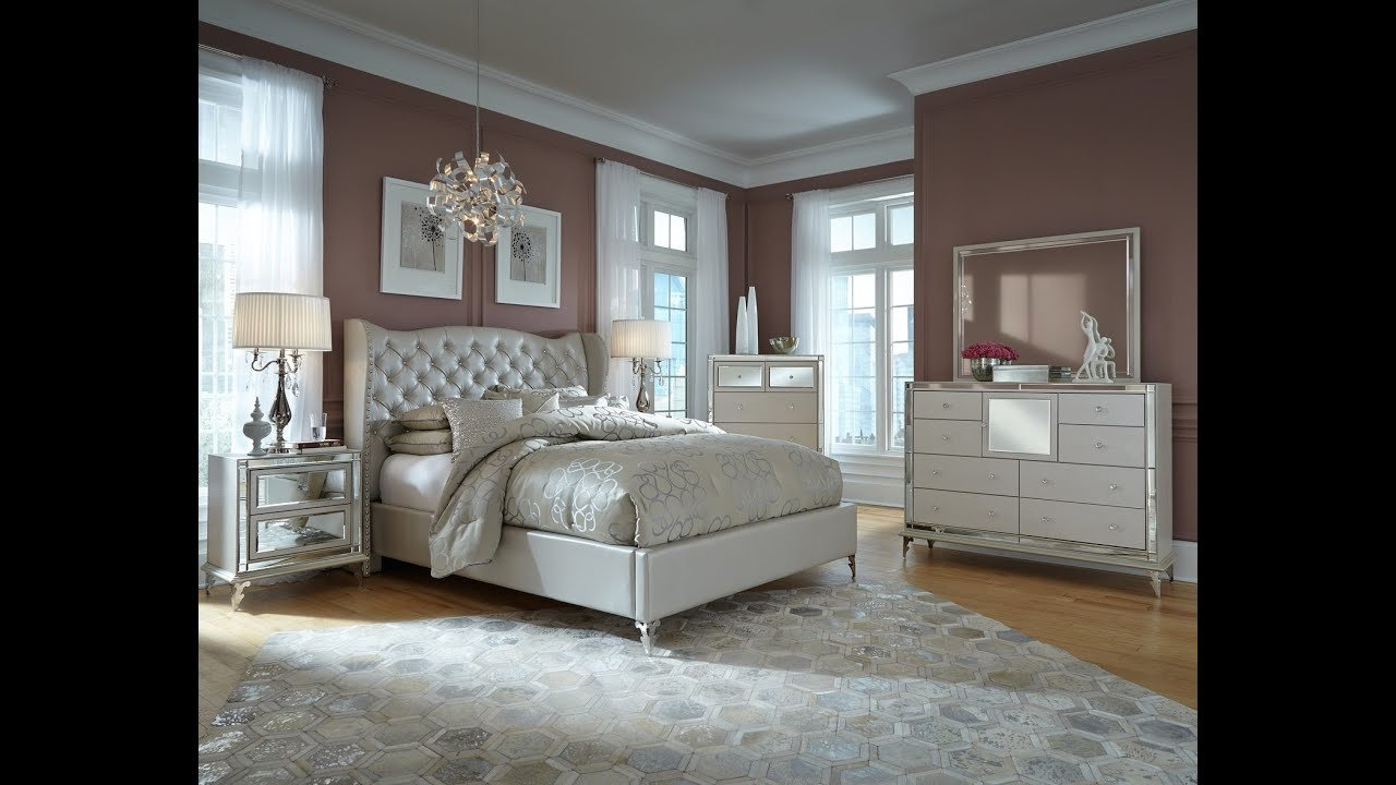 Best Hollywood Loft Upholstered Bedroom Set In Pearl By Michael With Pictures