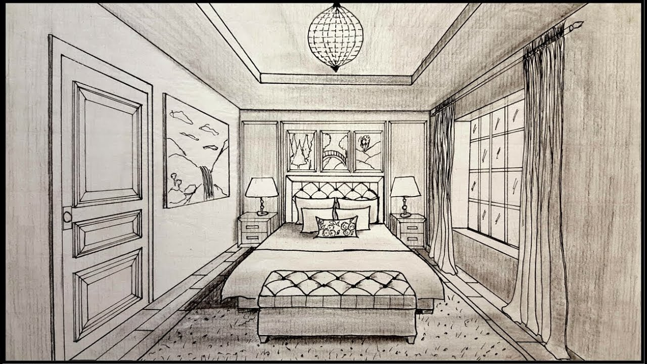 Best Drawing A Bedroom In One Point Perspective Timelapse Youtube With Pictures