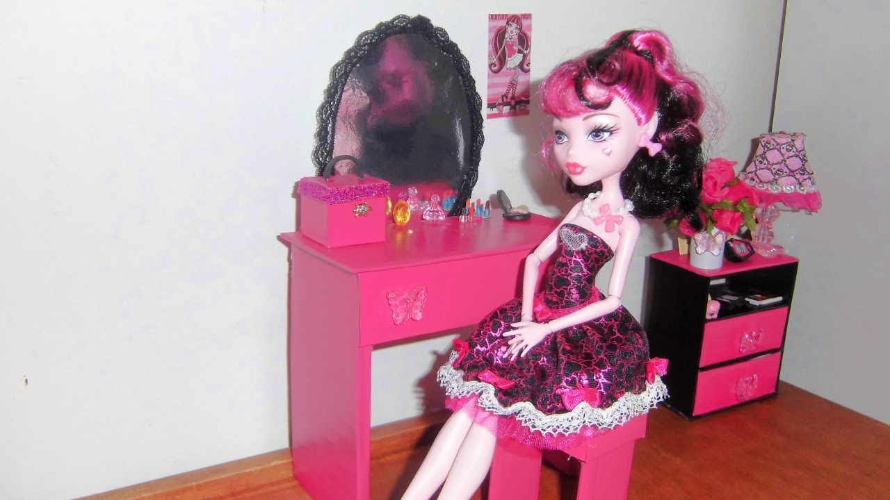 Best How To Make A Bedroom Vanity For Doll Monster High Barbie Etc Youtube With Pictures