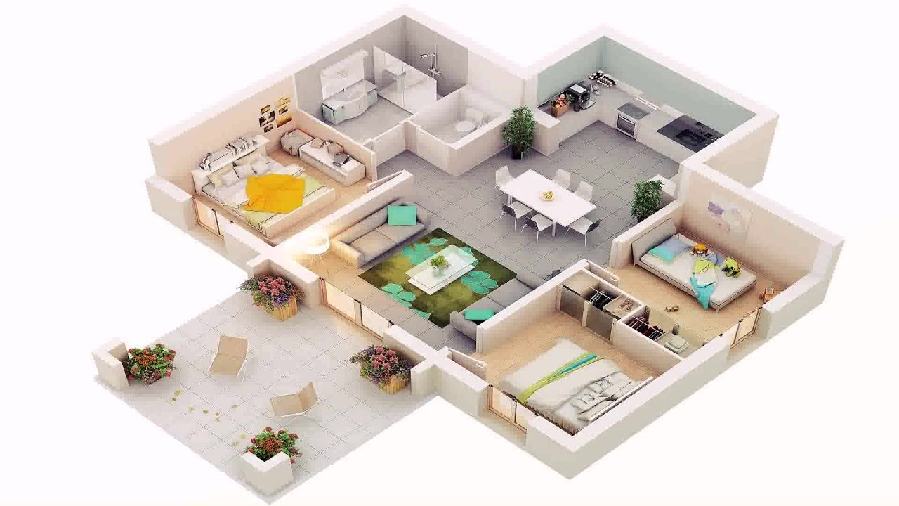 Best House Plans 4 Bedroom 3D Youtube With Pictures