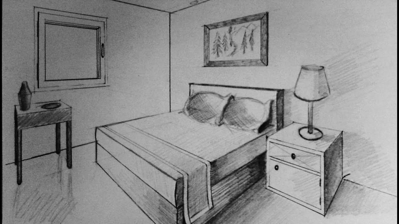 Best How To Draw Two Point Perspective Bedroom Youtube With Pictures