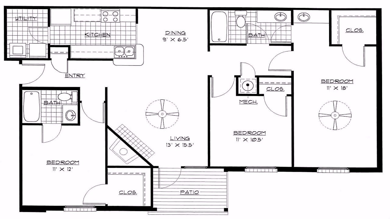 Best 4 Bedroom House Plans Open Floor Plan Youtube With Pictures