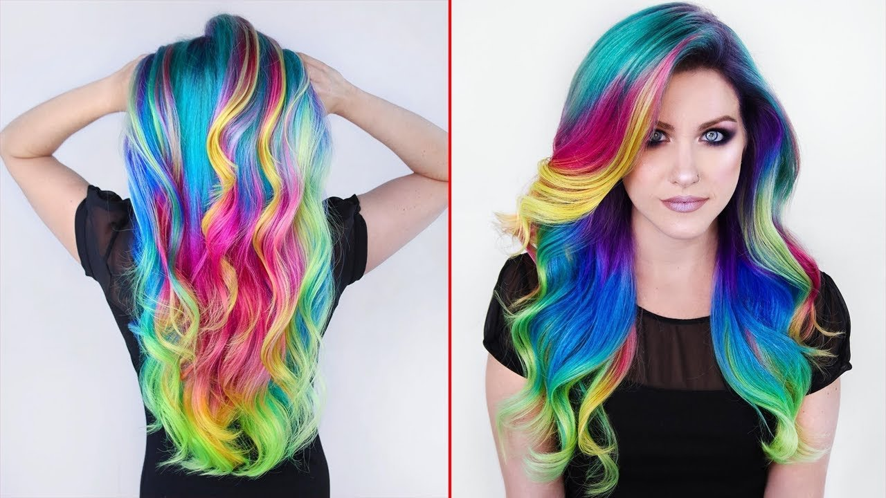 Free Rainbow Hair Color Transformations Creating Colorful Wallpaper