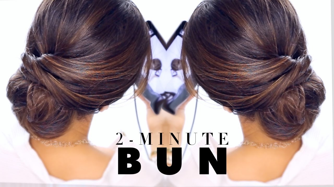 Free 2 Minute Elegant Bun Hairstyle ★ Easy Updo Hairstyles Wallpaper