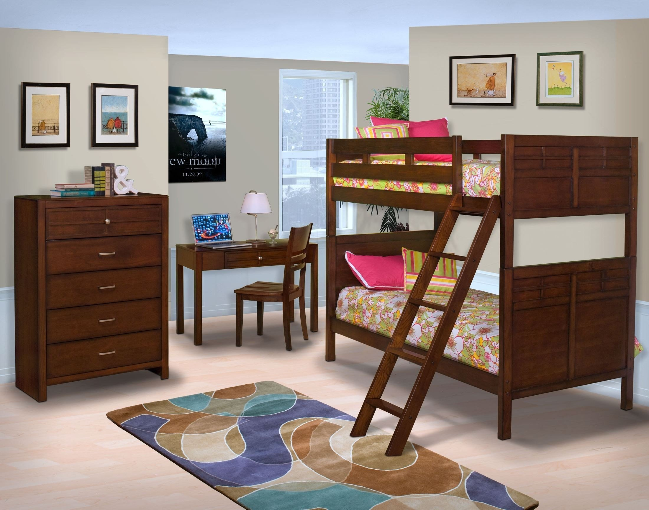 Best Kensington Burnished Cherry Youth Bunk Bedroom Set From New Classics 05 060 518 538 597 With Pictures