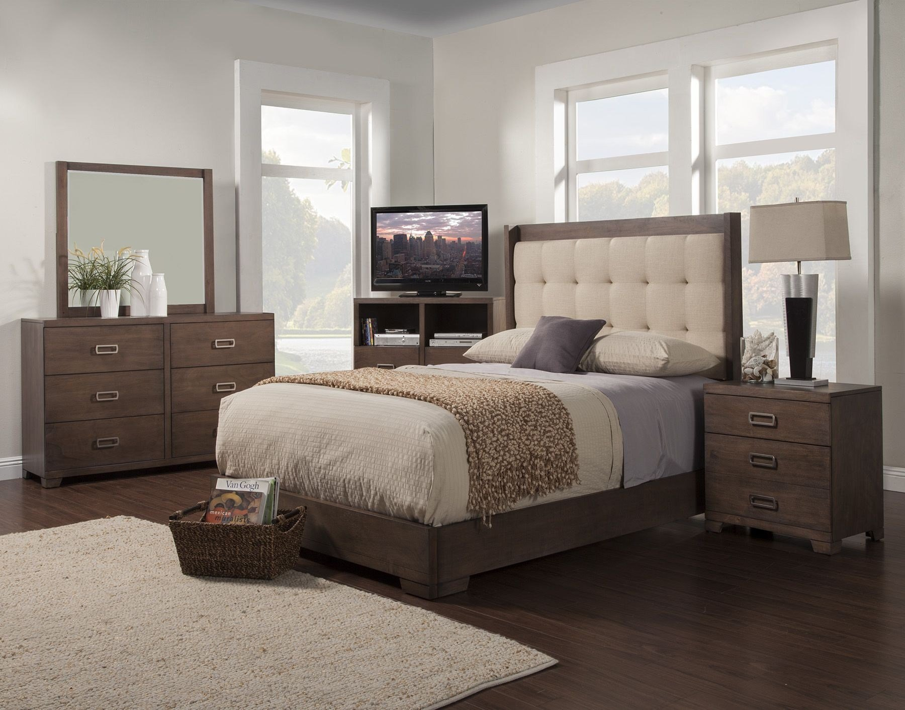 Best Savannah Pecan Tufted Platform Bedroom Set From Alpine With Pictures