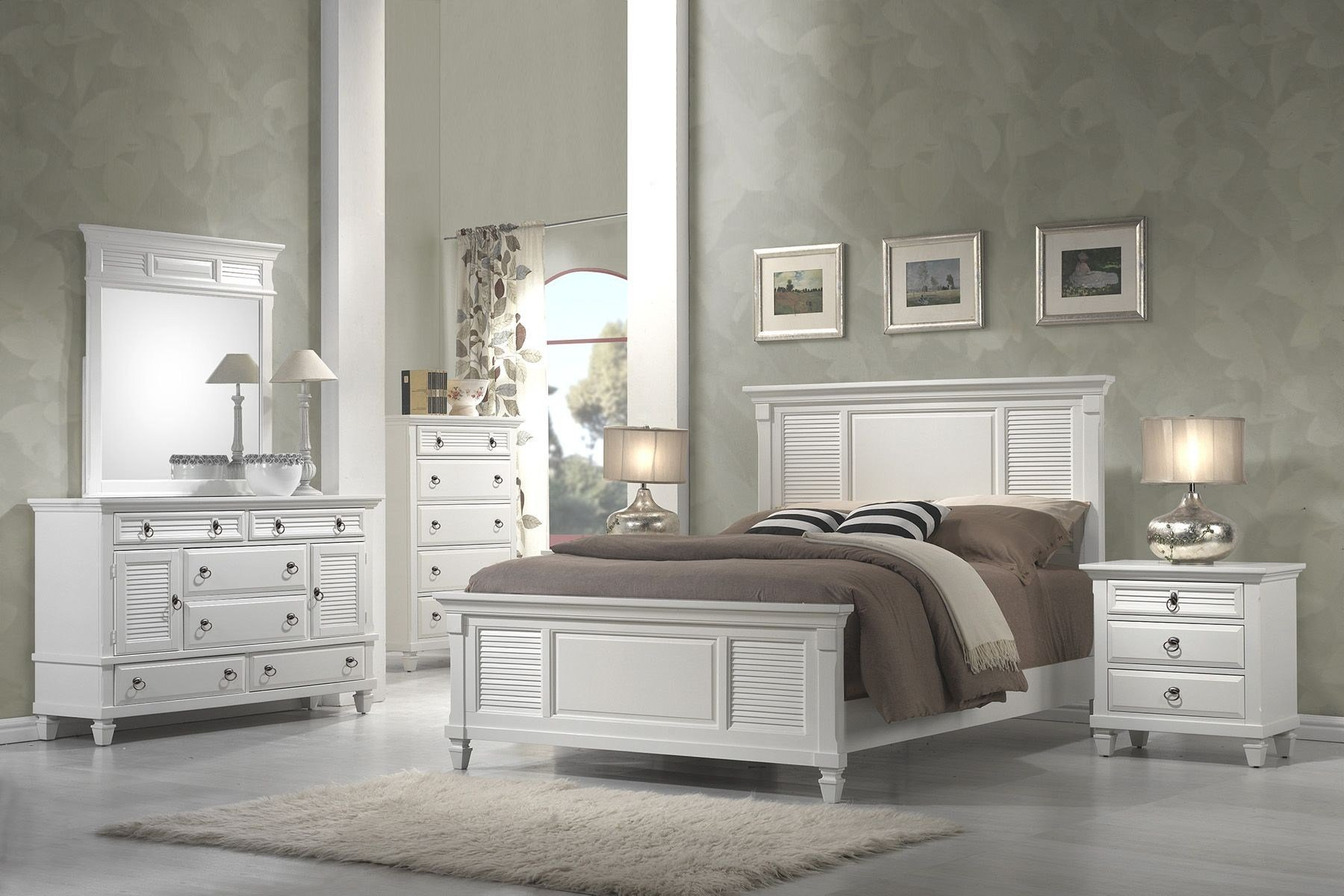 Best Winchester White Shutter Panel Bedroom Set From Alpine Coleman Furniture With Pictures