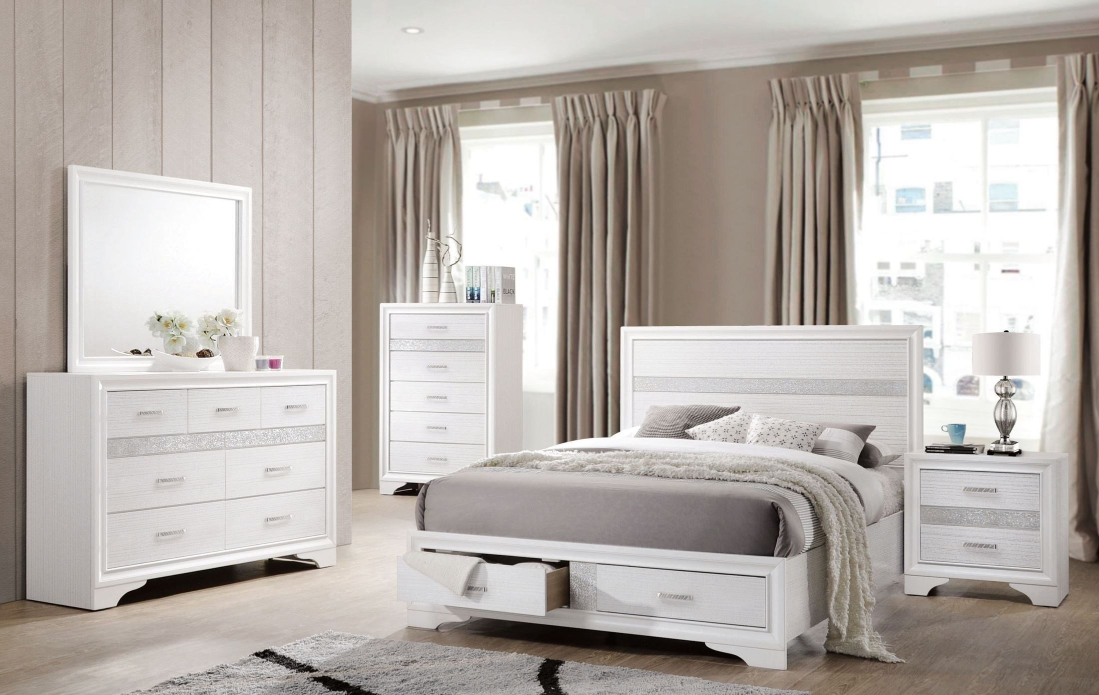 Best Miranda White Storage Platform Bedroom Set From Coaster With Pictures