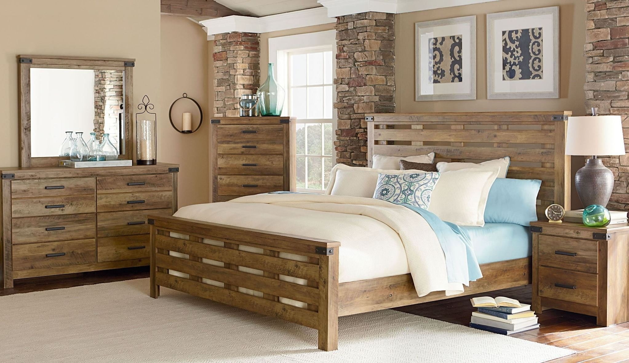 Best Montana Rustic Buckskin Panel Bedroom Set From Standard With Pictures