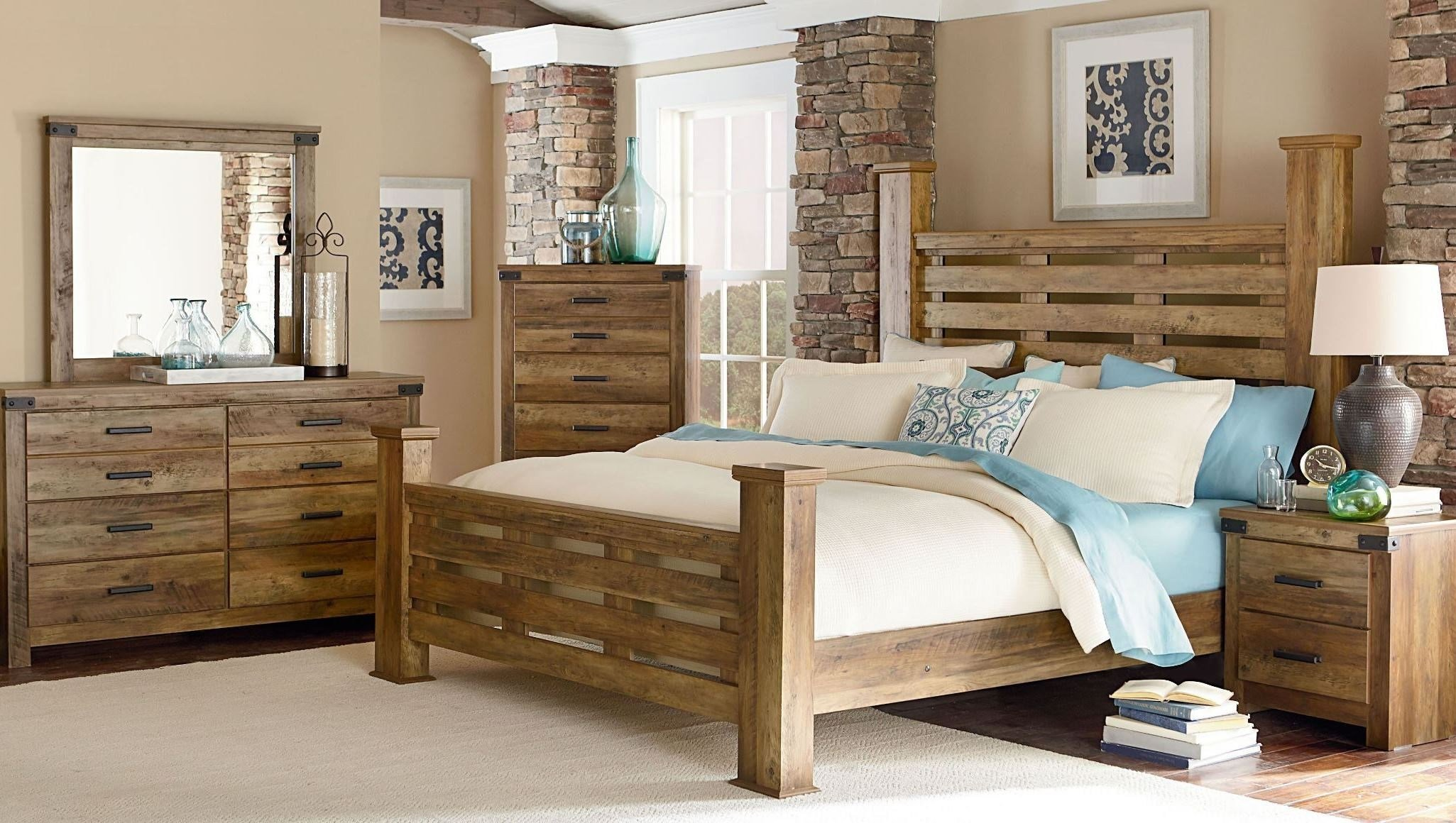Best Montana Rustic Buckskin Poster Bedroom Set From Standard Furniture Coleman Furniture With Pictures