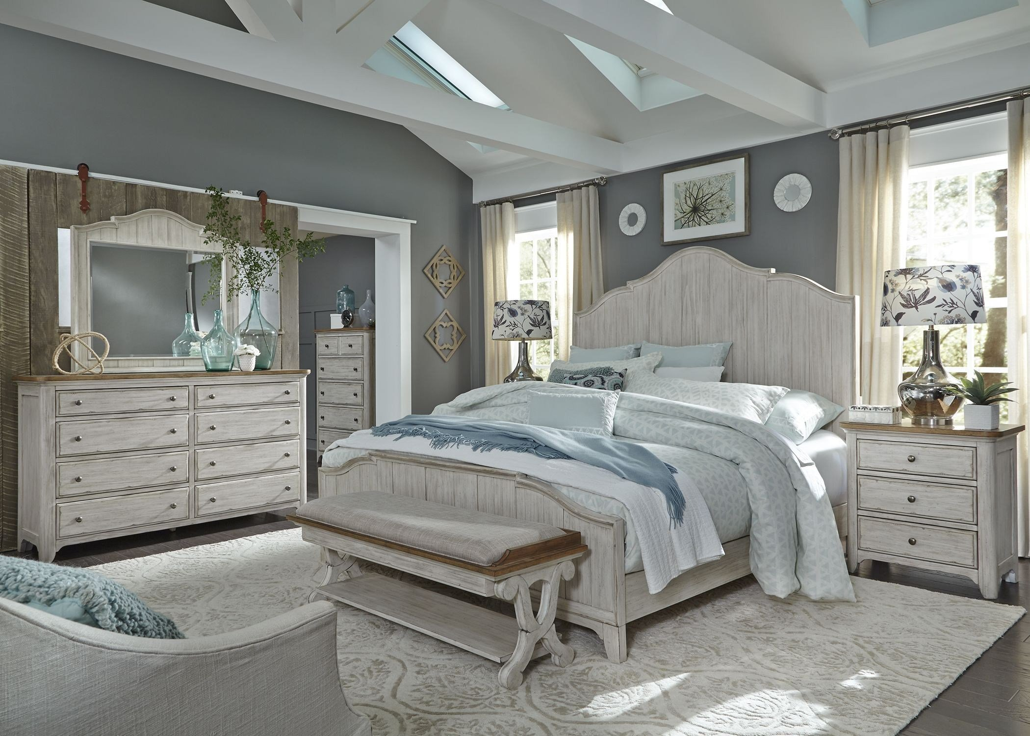 Best Farmhouse Reimagined Antique White Panel Bedroom Set From With Pictures