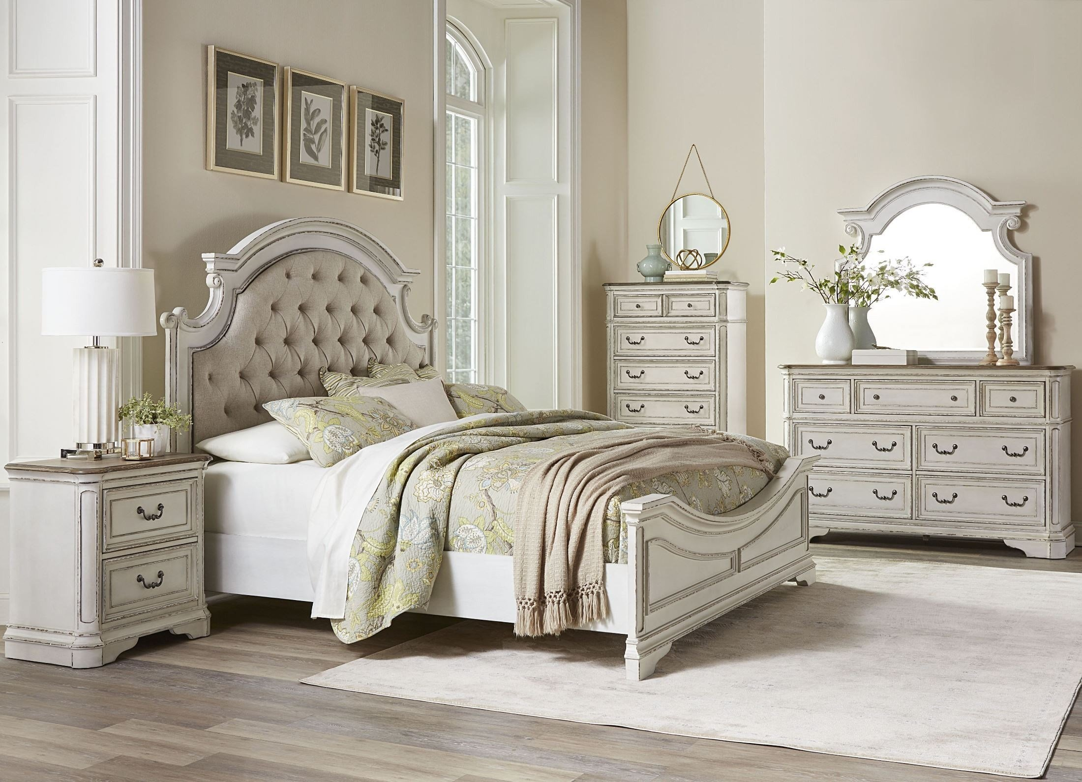 Best Stevenson Manor Distressed White Upholstered Panel Bedroom Set From Standard Furniture Coleman With Pictures