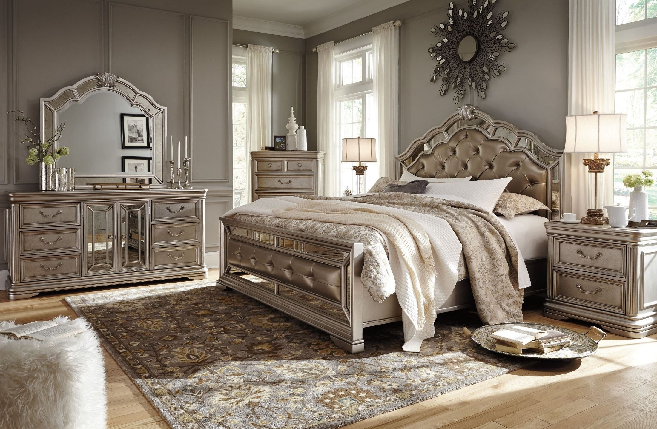 Best Birlanny Silver Upholstered Panel Bedroom Set From Ashley With Pictures