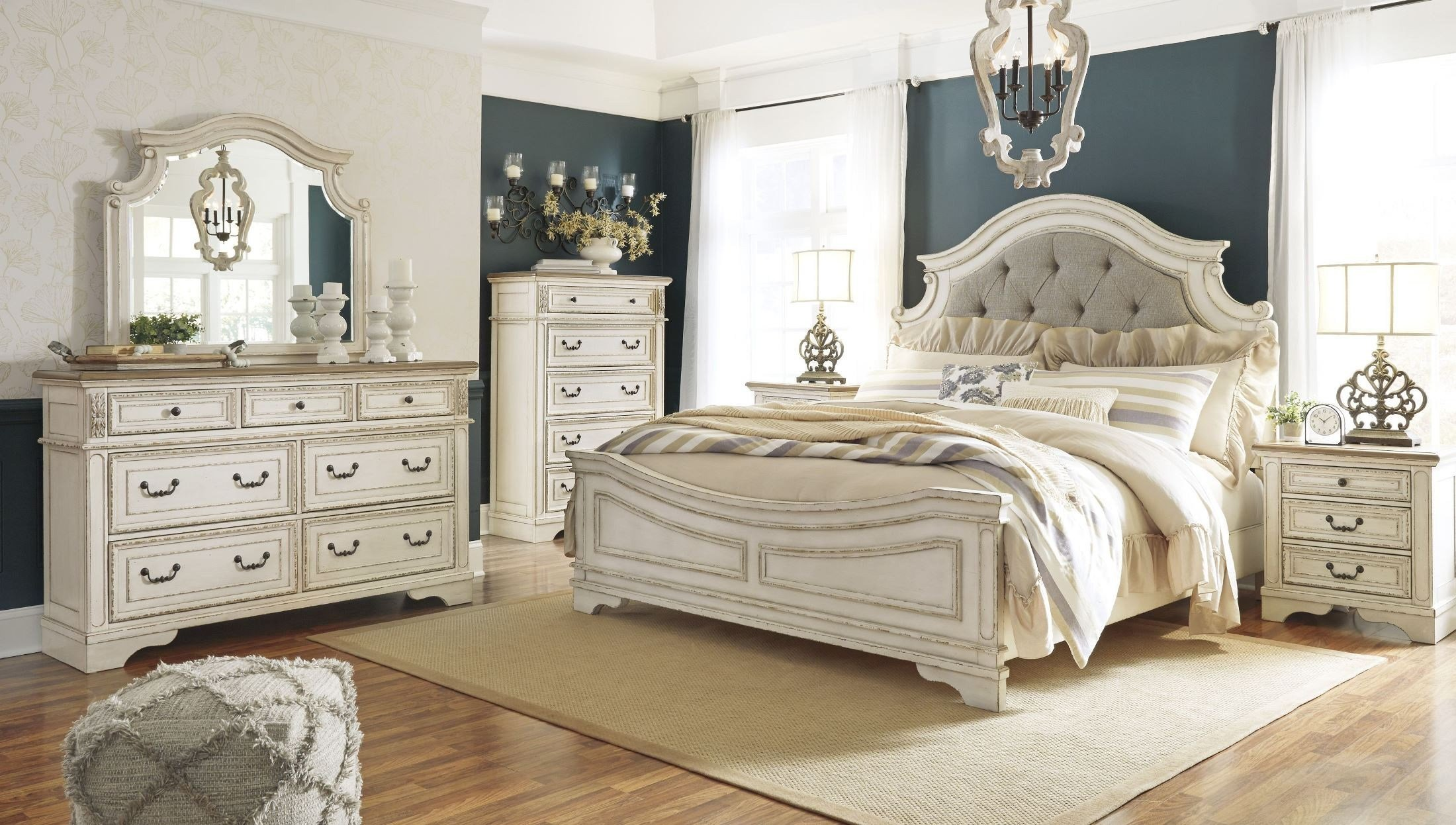 Best Realyn Chipped Two Tone Upholstered Panel Bedroom Set From With Pictures