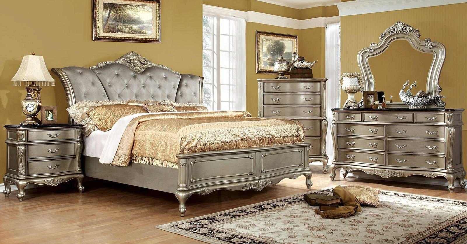 Best Johara Gold Upholstered Bedroom Set From Furniture Of America Coleman Furniture With Pictures