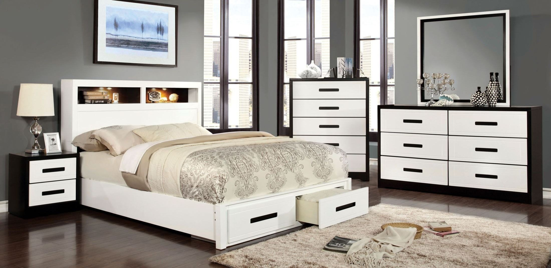 Best Rutger White And Black Storage Bedroom Set From Furniture With Pictures