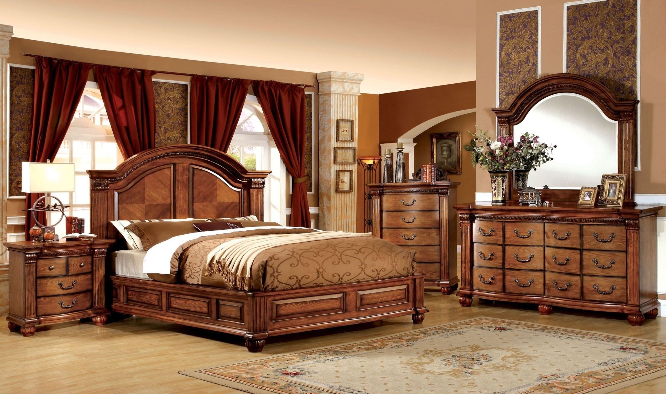 Best Bellagrand Antique Tobacco Oak Bedroom Set From Furniture With Pictures