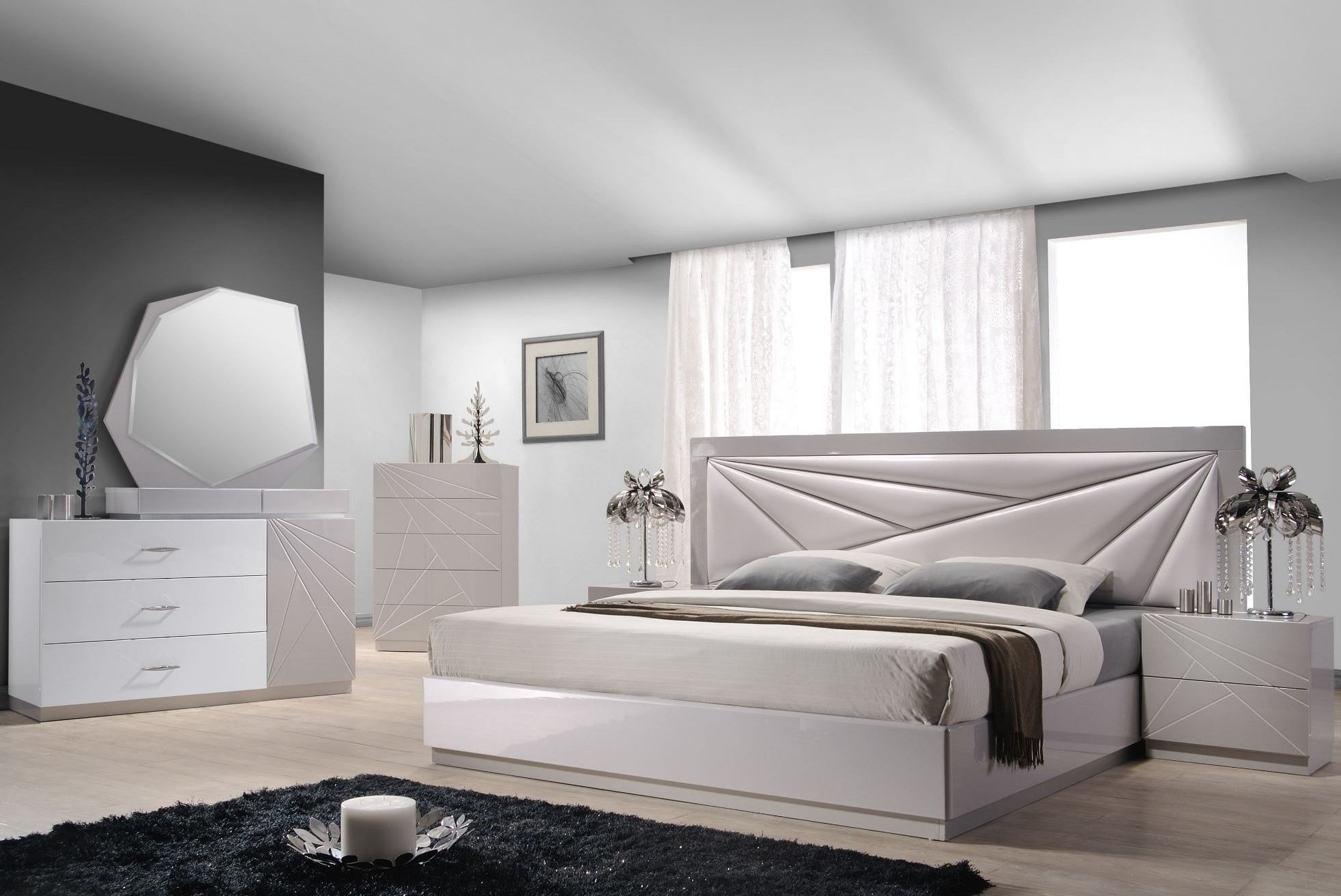 Best Florence White Light Grey Lacquer Platform Bedroom Set With Pictures