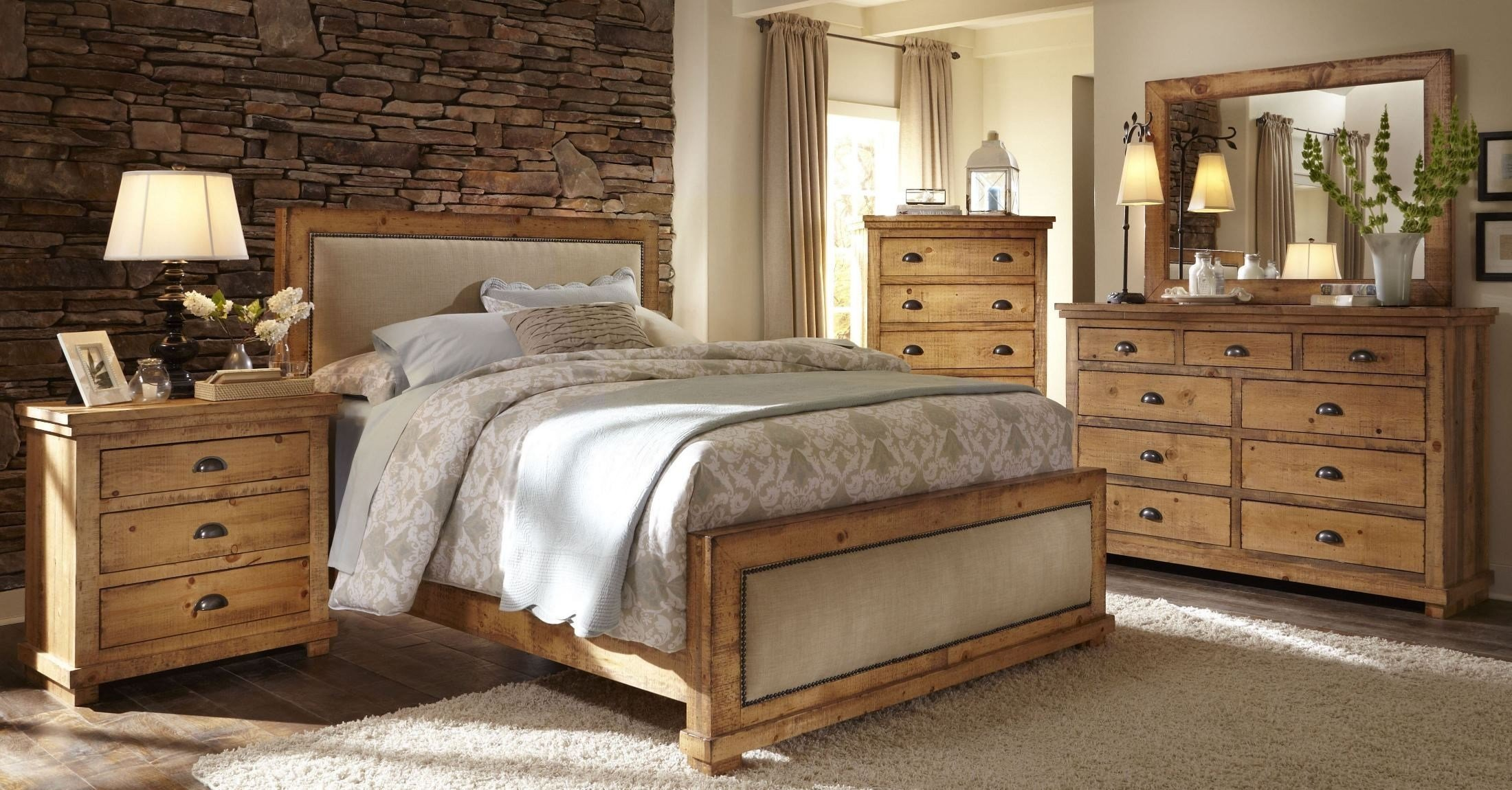 Best Willow Distressed Pine Upholstered Bedroom Set From With Pictures